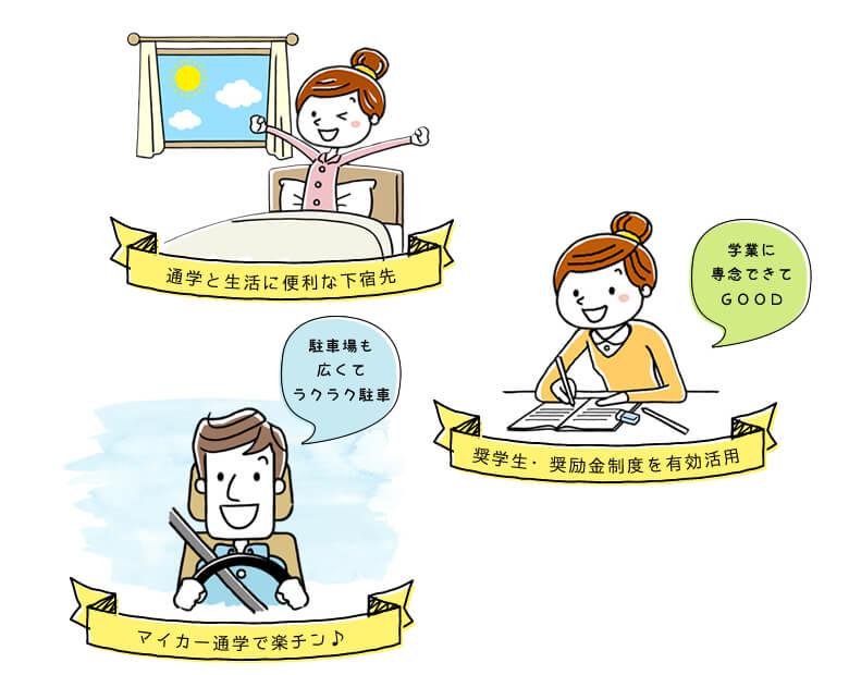 通学と生活に便利な下宿先・奨学生・奨学金制度を有効活用・マイカー通学で楽チン♪